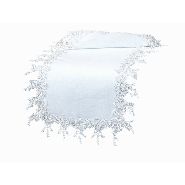 Shop Floral Garden Lace Trim Table Runner, 16 By 90 Inch, White   Free  Shipping On Orders Over $45   Overstock   18535406