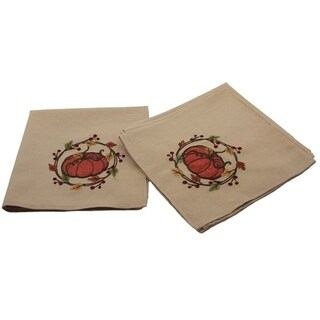 Rustic Pumpkin Wreath Fall Napkins, 18 by 18-Inch, Set of 4