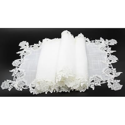 English Rose Lace Trim Table Runner, 16 by 36-Inch, White