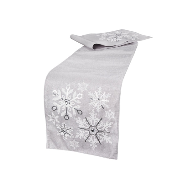 Glistening Snow Christmas Table Runner 13 By 108 Inch