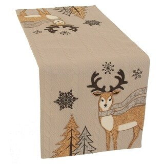 Cozy Reindeer Christmas Table Runner, 13 by 36-Inch