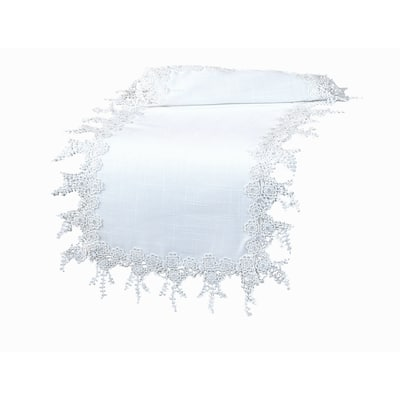 Floral Garden Lace Trim Table Runner, 16 by 36-Inch, White