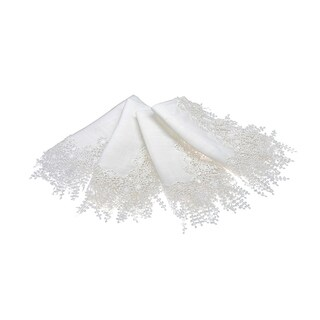 Floral Garden Lace Trim, 20 by 20-Inch, Set of 4, White