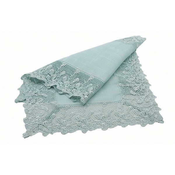 Garden Trellece Lace Trim Table Runner, 16 By 36 Inch, Reflecting Pond Blue