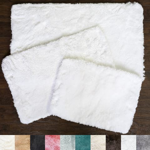 Sweet Home Collection Faux Fur Bath Rug 3 Piece Set (Available in 10 Colors)