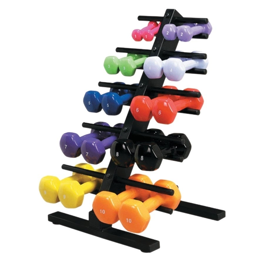 CanDo® Vinyl Coated Dumbbell - 10-Piece Set with Floor Ra...