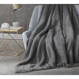 BYB Nama Karoo - Hand Brushed Kid Mohair - Throw Blanket - Goodnight Grey