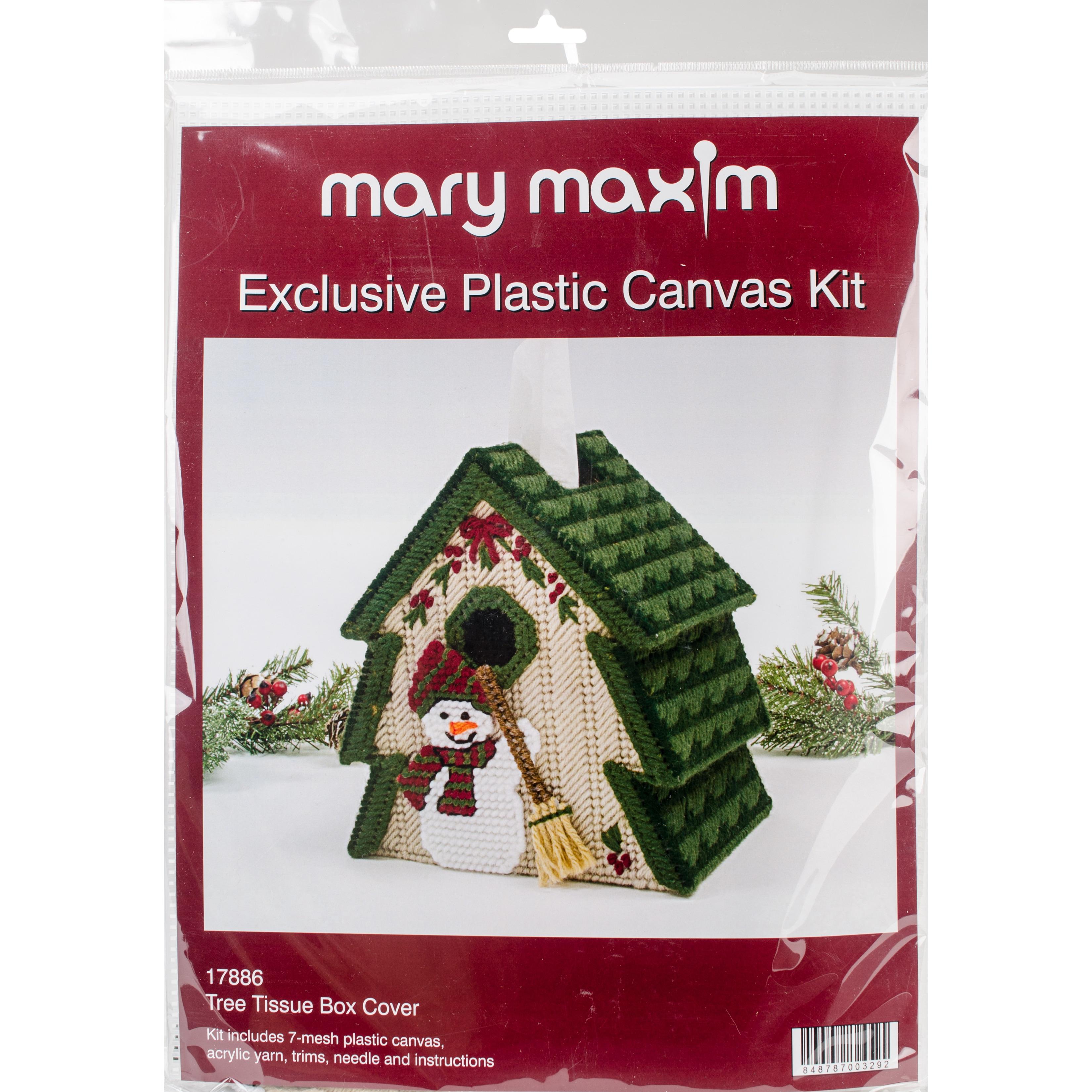 "mary maxim Plastic Canvas Tissue Box Kit 5"" (Tree (7 Count))"
