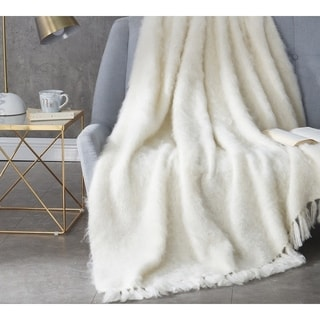 BYB Nama Karoo Hand-brushed Kid Mohair Almond Butter Throw Blanket