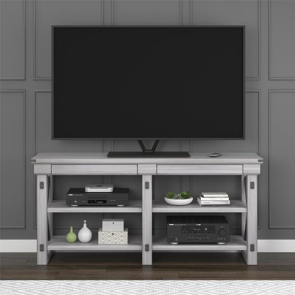 Avenue Greene Woodgate Rustic White Tv Stand For Up To 65 Inch Wide Tvs