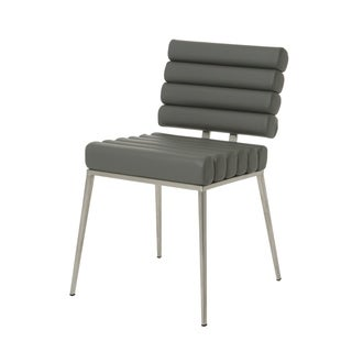 Fuego Maya Side Chair, Stainless Steel/PU Gray