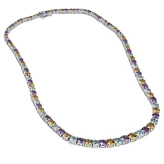 Sterling Silver 42 1/2 carats Amethyst, Blue Topaz and Citrine Gemstones Graduated Riviera Necklace - Yellow/Purple