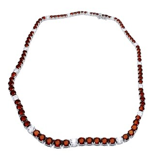 Sterling Silver 50 carats Real Gemstones Graduated Riviera Necklace - Red/White