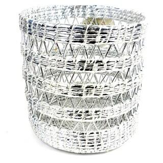Handmade Open Weave Waste Basket Silver White (Nepal)