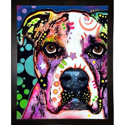 """American Bulldog Framed Print 7""""x5.5"""" by Dean Russo"""