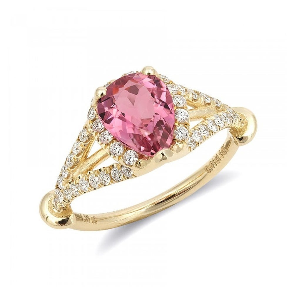 14k Yellow Gold 1.72ct TGW Pink Tourmaline and White Diam...