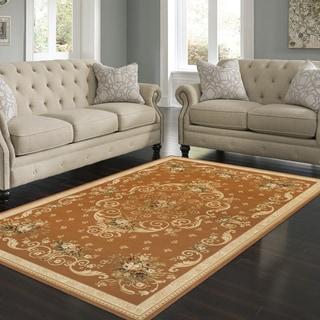 Superior Designer Eden Orange/Ivory Traditional Area Rug (8' x 10')