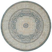 Alexander Home Kendrick Blue/Sand Medallion Round Rug - 7'7 x 7'7
