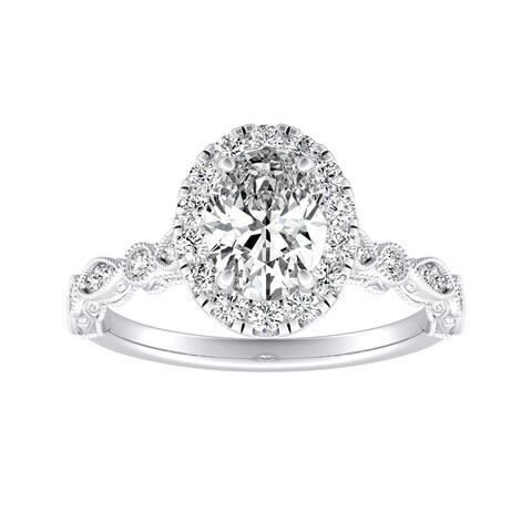 Auriya 18k Gold 1 1/3Vintage Oval-cut Halo Diamond Engagement Ring
