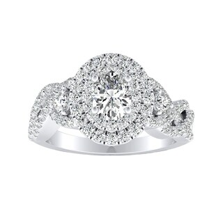 Auriya 18K Gold GIA Certified 1 5/8ct TDW Infinity Oval Double Halo Diamond Engagement Ring