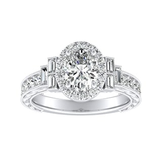 Auriya 18K Gold 2ct TDW Oval-cut Diamond Vintage Halo Engagement Ring - White G-H