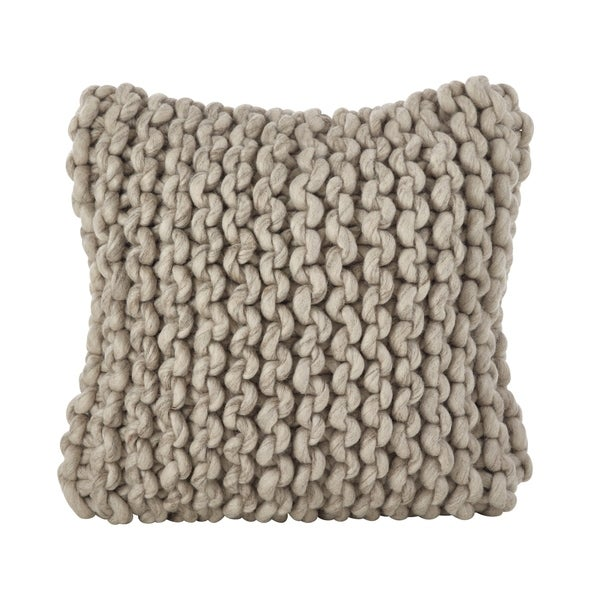 Chunky Cable Knit Design Accent Cushion Wool Down Filled Throw ...