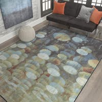 Mohawk Aurora Rain Drop Blue/Cream Area Rug - 7'7 x 10'