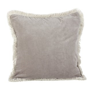 Cotton Fringe Trimmed Down Filled Throw Pillow