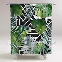 OliverGal 'Introspect Palm Leaves Black'Shower Curtain