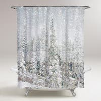 OliverGal 'Magic Snow Trees' Shower Curtain