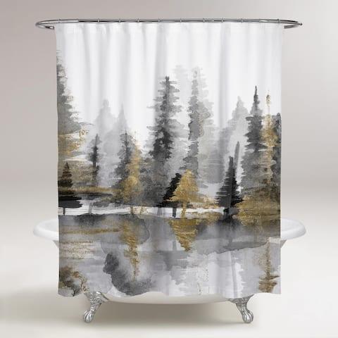 OliverGal 'Golden Reflection III' Shower Curtain