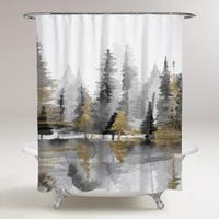 OliverGal 'Golden Reflection III' Shower Curtain