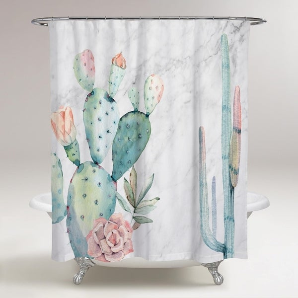 Shop Olivergal Marble And Succulents Shower Curtain On
