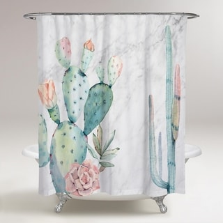 OliverGal 'Marble and Succulents' Shower Curtain