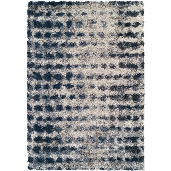 Shop Addison Borealis Blue Ivory Plush Abstract Shag Area Rug 9 6 X