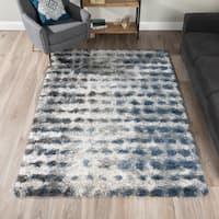 Addison Borealis Blue/Ivory Plush Abstract Shag Area Rug (9'6 x 13'2)