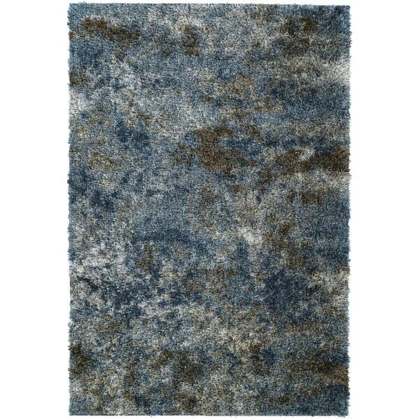 Addison Borealis Blue/Pewter Plush Abstract Shag Area Rug