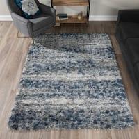Addison Borealis Blues/Grey Plush Abstract Shag Area Rug (9'6 x 13'2)