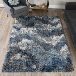 Addison Borealis Plush Abstract Blues/Ivory Shag Area Rug