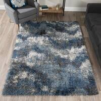 Addison Borealis Blue/Ivory Plush Abstract Shag Area Rug (9'6 x 13'2)