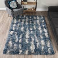 Addison Borealis Blue/White Plush Abstract Shag Area Rug (9'6 x 13'2)