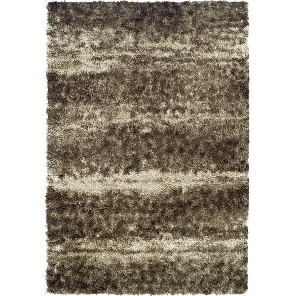 Addison Borealis Plush Abstract Brown/Beige Shag Area Rug (9'6 x 13'2)