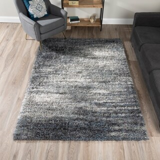 Addison Borealis Grey/Ivory Plush Shag Area Rug