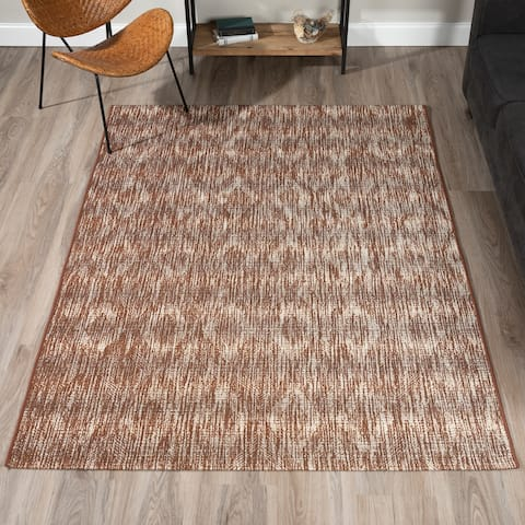 "ADDISON Freeport Abstract Diamond Brown/Ivory Indoor-Outdoor Area Rug (3'3""X5'1"") - 3'3""X5'1"""