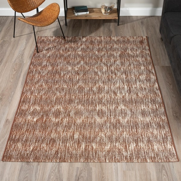 """ADDISON Freeport Abstract Diamond Brown/Ivory Indoor-Outdoor Area Rug (3'3""""X5'1"""") - 3'3""""X5'1"""". Opens flyout."""