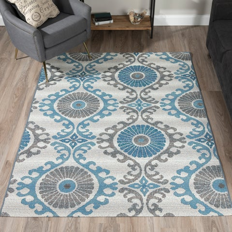ADDISON Freeport Bohemian Blue/Gray Indoor-Outdoor Area Rug (2'X3')