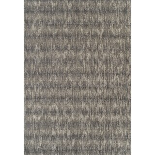 "ADDISON Freeport Abstract Diamond Gray/Ivory Indoor-Outdoor Area Rug (3'3""X5'1"")"