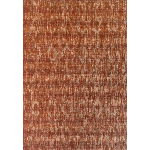 ADDISON Freeport Abstract Diamond Spice/Ivory Indoor-Outdoor Area Rug (2'X3')