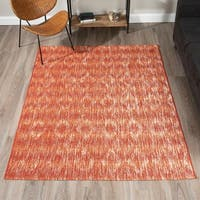 "ADDISON Freeport Abstract Diamond Spice/Ivory Indoor-Outdoor Area Rug (3'3""X5'1"")"