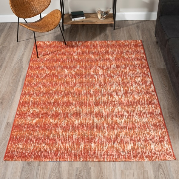Addison Freeport Spice/ Ivory Abstract Diamond Indoor/ Outdoor Area Rug (8'2 x 10')